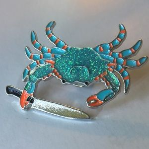 🦀 Blue Crab Glitter Funny enamel & metal pin NIB